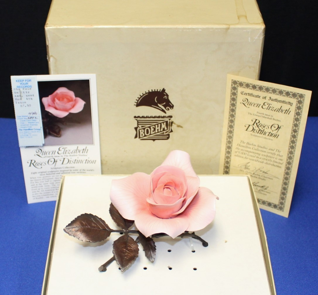 Boehm Porcelain & Bronze Queen Elizabeth Pink Rose Sculpture Figurine, Box & COA