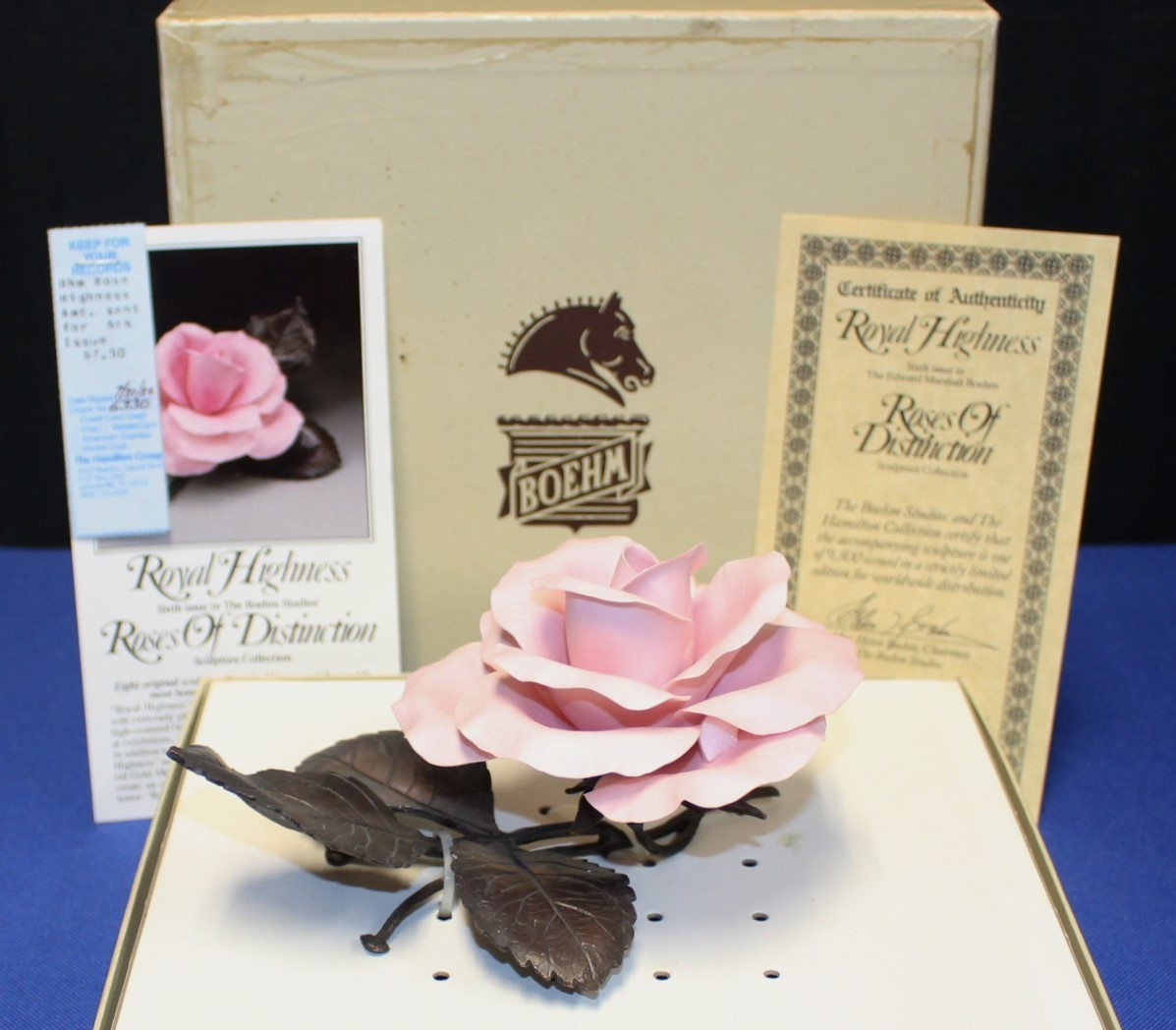 Boehm Porcelain & Bronze Royal Highness Pink Rose Sculpture Figurine, Box & COA