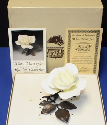 Boehm Porcelain & Bronze White Masterpiece Rose Sculpture Figurine, Box & COA