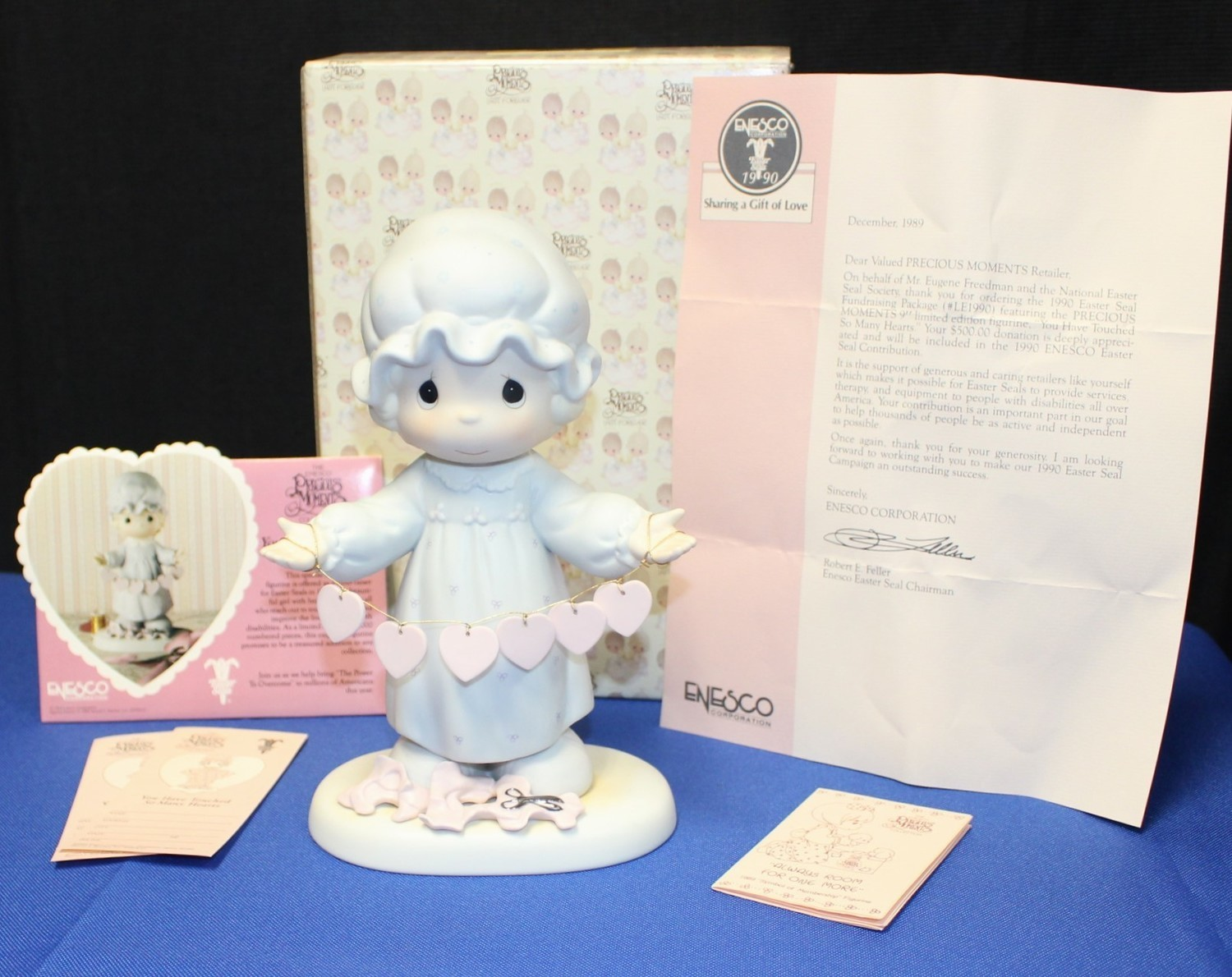 """Precious Moments 1989 You Have Touched Many Hearts 9"""" Figurine Easter Seal w/Box"""