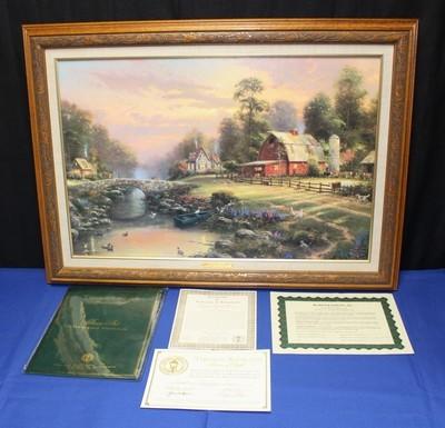 Thomas Kinkade Sunset at Riverbend Farm G/P 646/1240 Framed Lithograph on Canvas