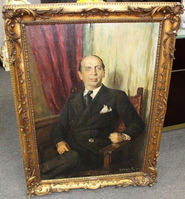 1933 Richard Hall Oil on Canvas Boardroom Portrait Gilt Framed Painting, Signed