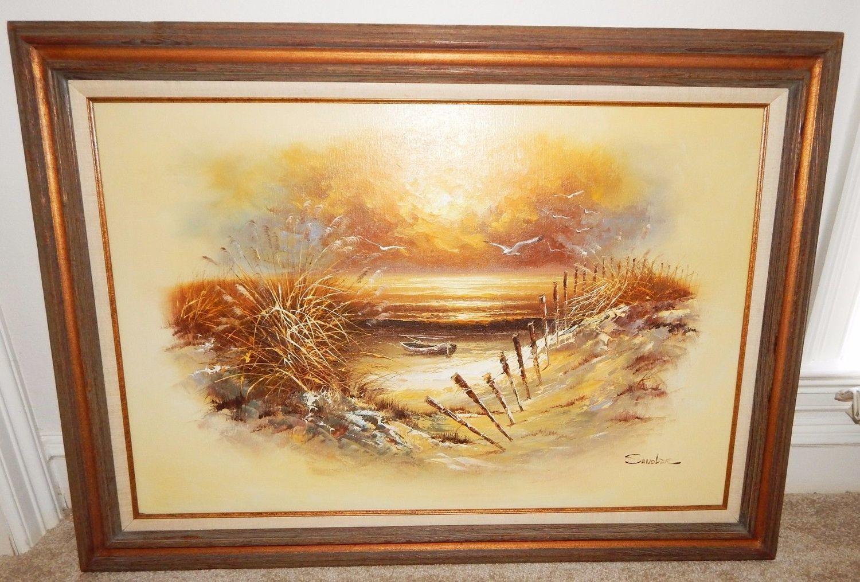 SANDLER Seascape Shoreline 43x31 Framed Original Oil on Canvas Painting, Signed