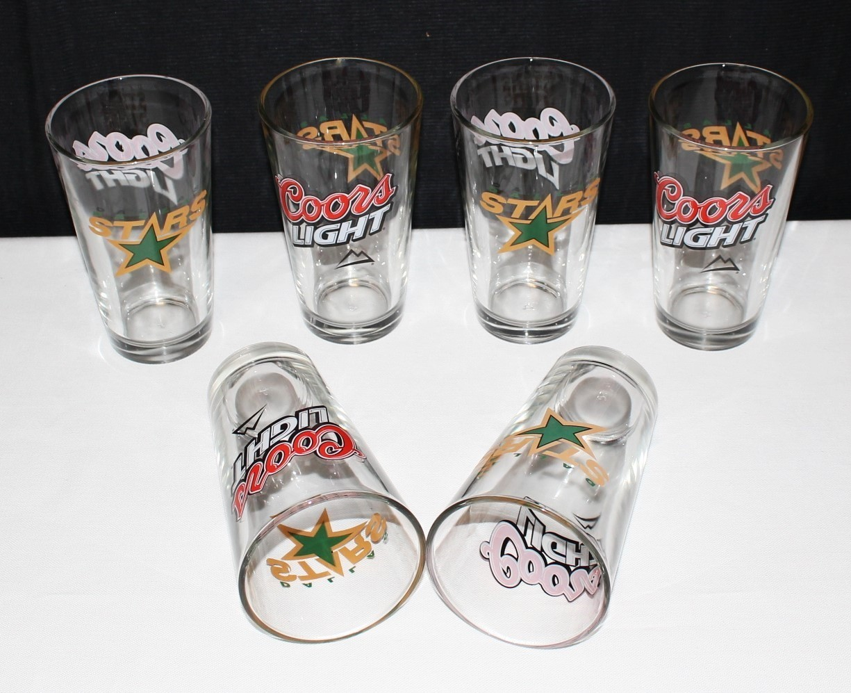 "Set of 6 Dallas Stars / Coors Light 16 oz. Clear Glass 5 3/4"" Tumblers by Libbey"