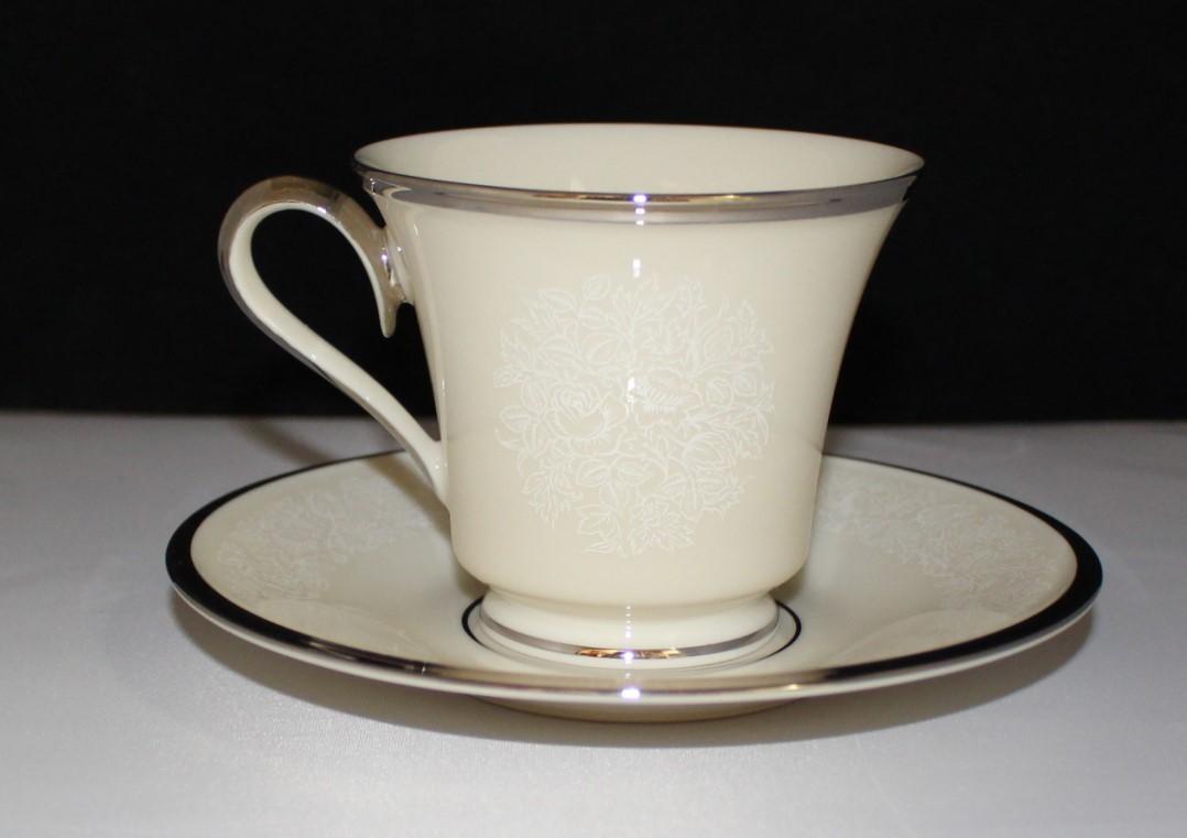Lenox Moonspun Footed Cup & Saucer Set Ivory Floral Pattern w/ Platinum Trim
