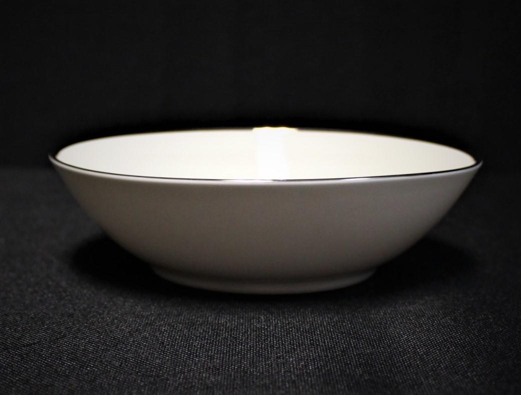 "Noritake Ivonne 7522 Ivory China 6.25"" Cereal Bowl w/ Platinum Trim"