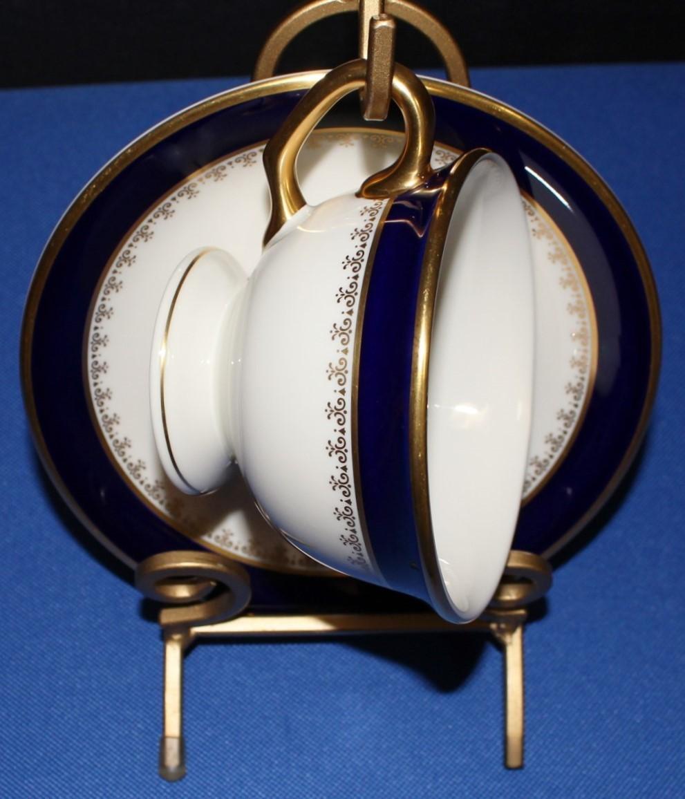 Pickard Washington Cobalt Blue & 24 KT Gold Footed Cup & Saucer Fine China Set