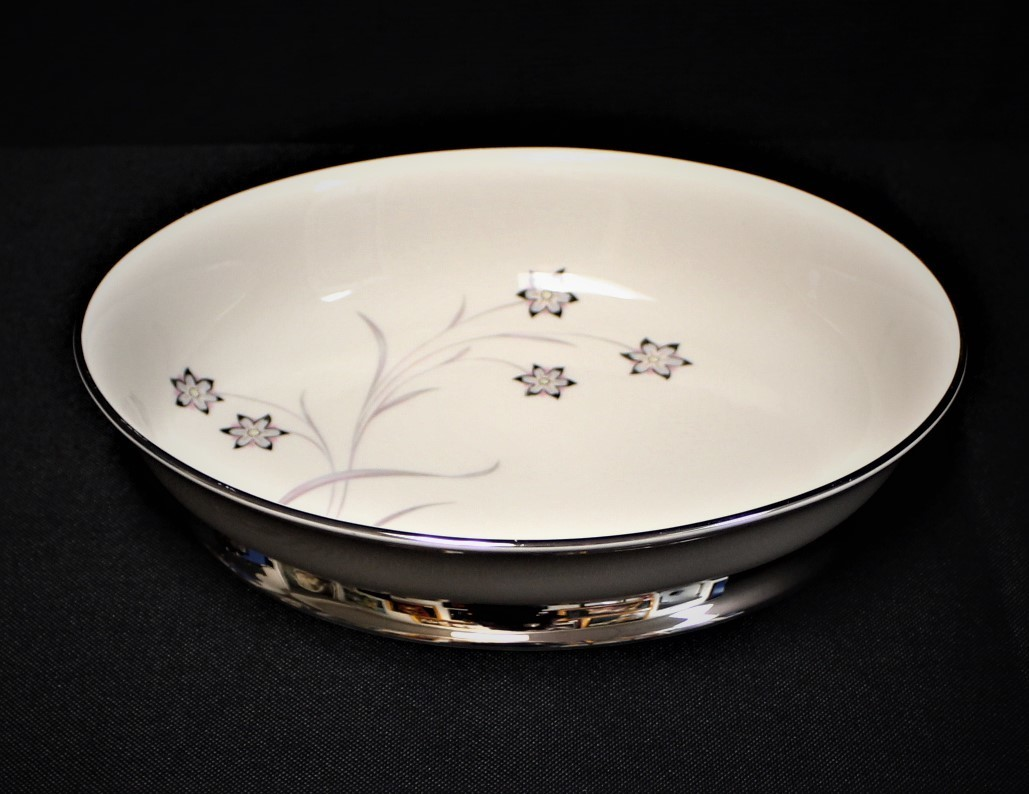 "Flintridge China Starflower 9 7/8"" Oval Footed Vegetable Serving Dish w/ Platinum Trim"