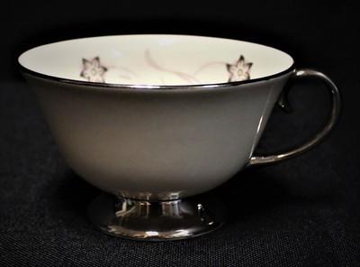 Flintridge China Starflower Footed Coffee Tea Cup w/ Platinum Trim
