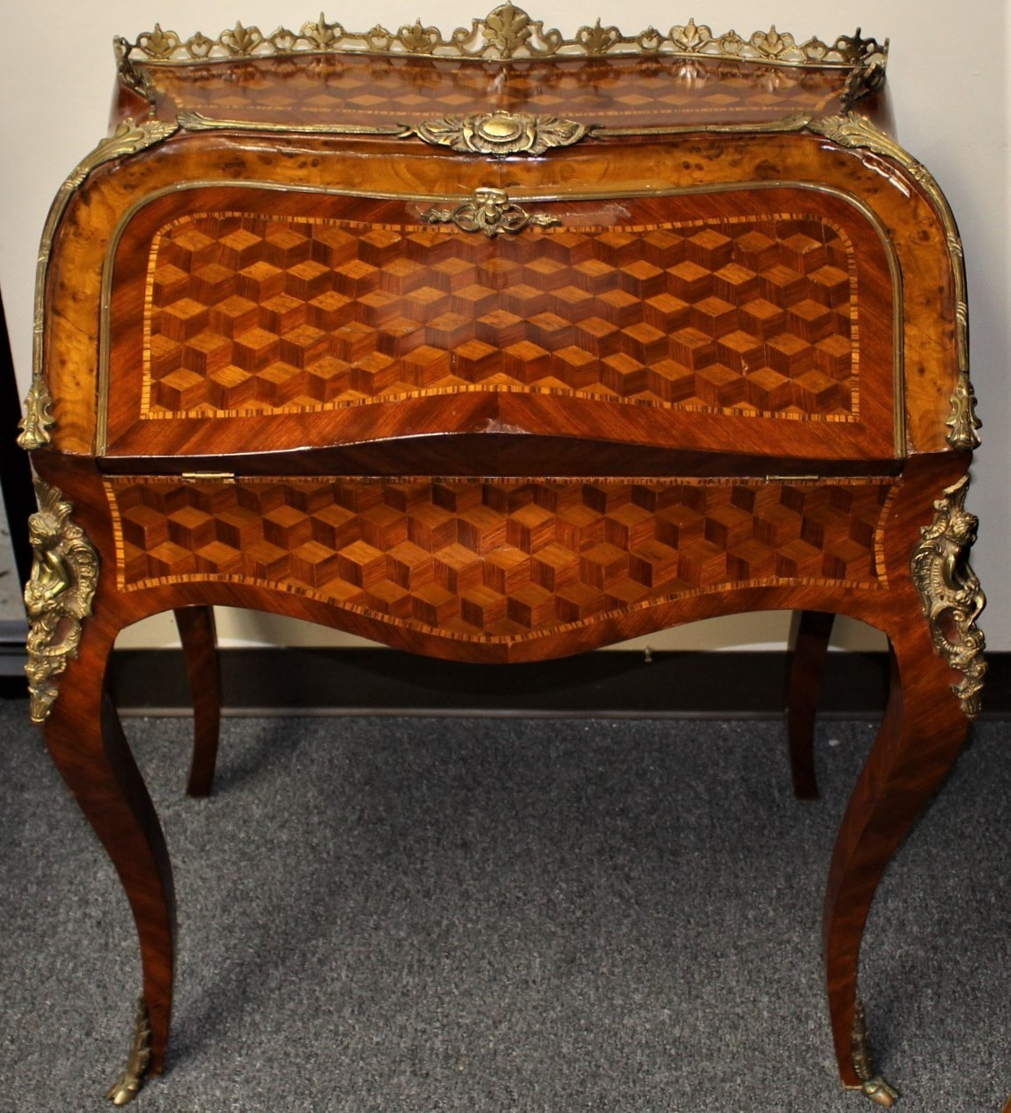 French Marquetry Inlay w/ Gilt Bronze Mounts & Leather Top Drop Down Bureau Writing Desk