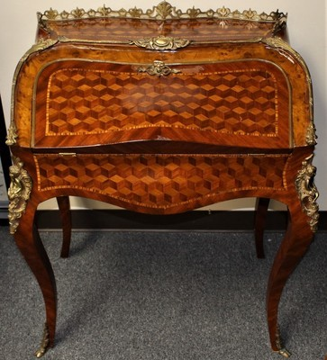 ​French Marquetry Inlay w/ Gilt Bronze Mounts & Leather Top Drop Down Bureau Writing Desk