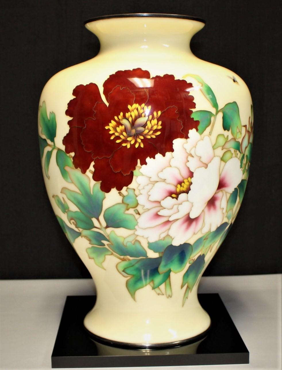 "1920's Ando Jubei Huge 16"" Japanese Cloisonne Flowers & Bumble Bee Baluster Vase"