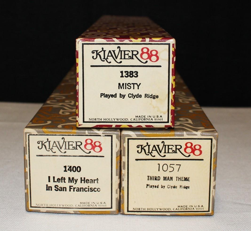 Set of 3 Assorted KLAVIER 88 Vintage Player Piano Rolls in Original Boxes