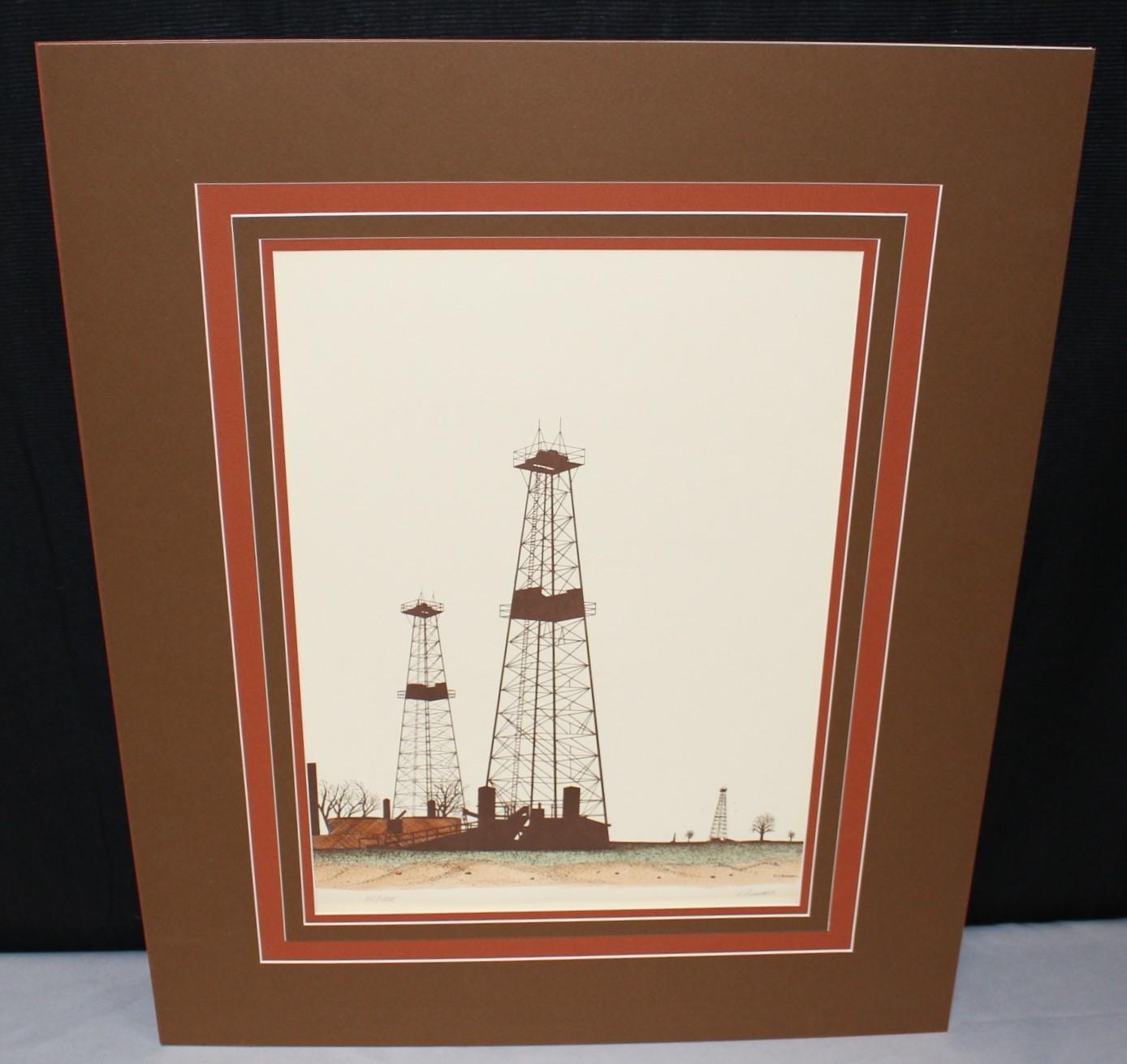 R. Bumpass Oil Derrick Well Pump Petroleum Color Lithograph Signed & Numbered
