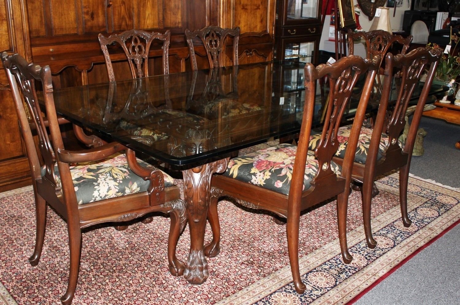 Mahogany Carved Lion's Heads Glass Top Dining Table w/ Six Chippendale Chairs