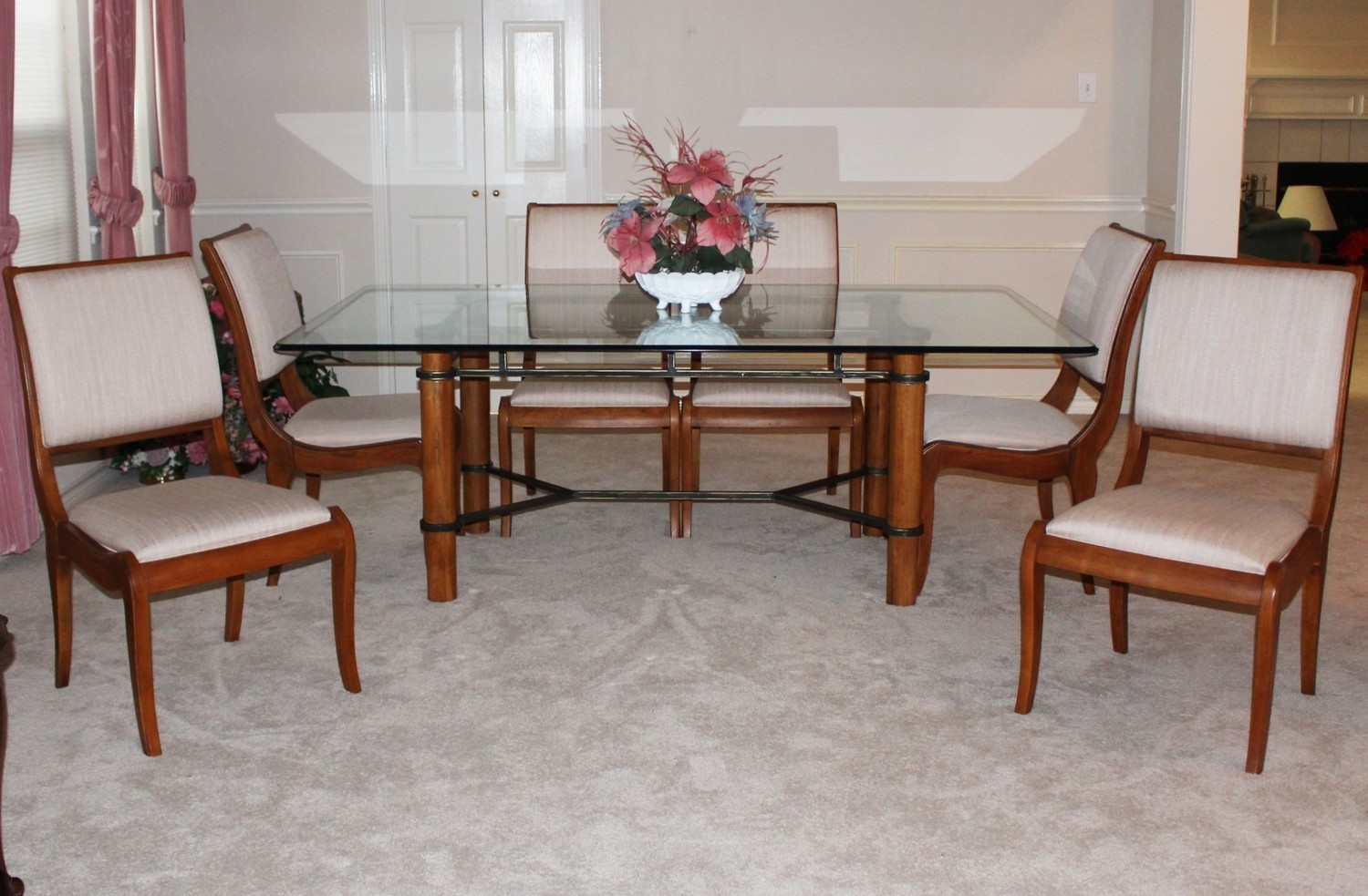 Gorgeous Thomasville Beveled Glass Top Table w/ Six Upholstered Chairs
