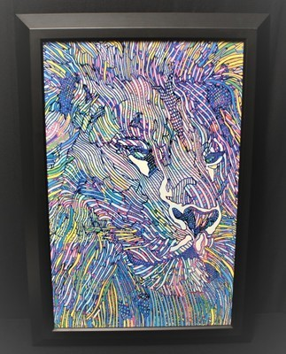 """Guillaume Azoulay """"Le Lion DLX"""" Limited Hand Signed Framed Giclee on Canvas, COA"""