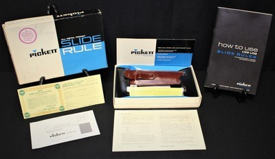 1953 Pickett 600-ES All Metal Pocket Slide Rule, Leather Clip-Case, Manual & Box