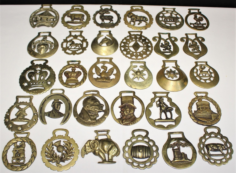 Lot of 30 Antique & Vintage Brass Horse Harness Bridle Medallions Ornaments