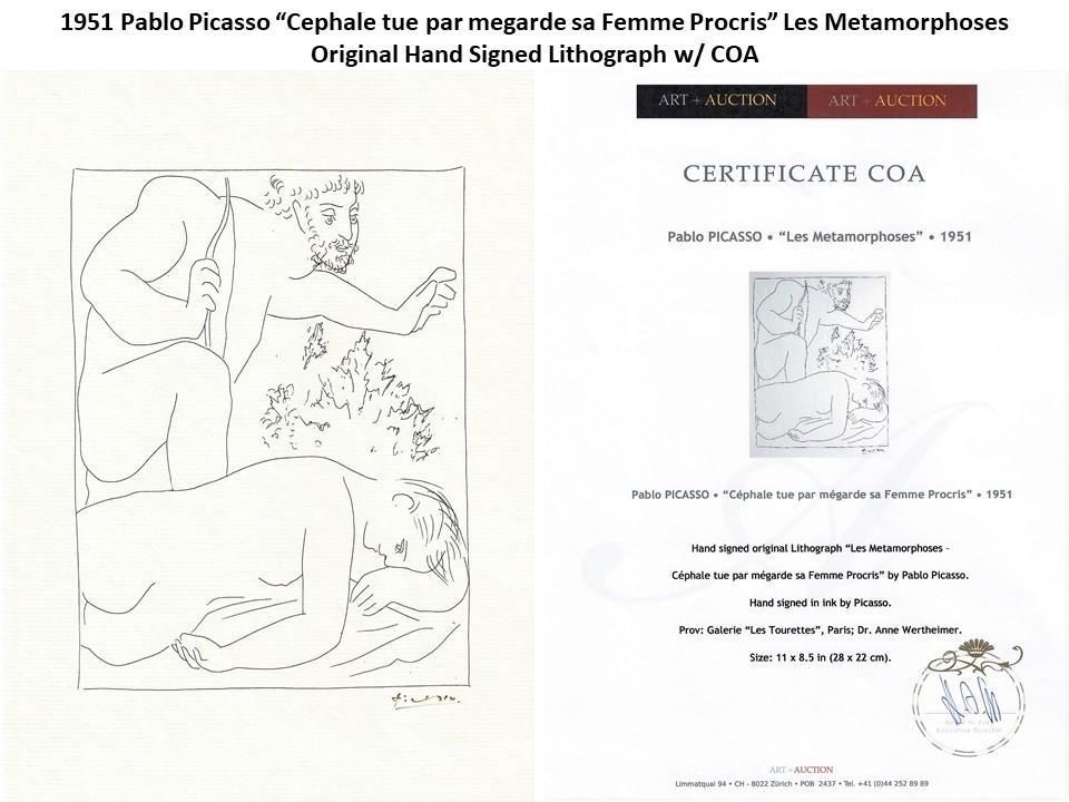 """1951 Pablo Picasso """"Cephale tue par megarde sa Femme Procris"""" Signed Litho w/COA"""