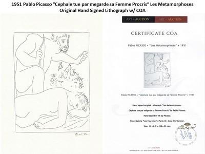 """1951 Pablo Picasso """"Cephale tue par megarde sa Femme Procris"""