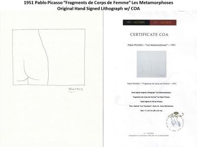 """1951 Pablo Picasso """"Fragments de Corps de Femme"""" Hand Signed Lithograph w/COA"""