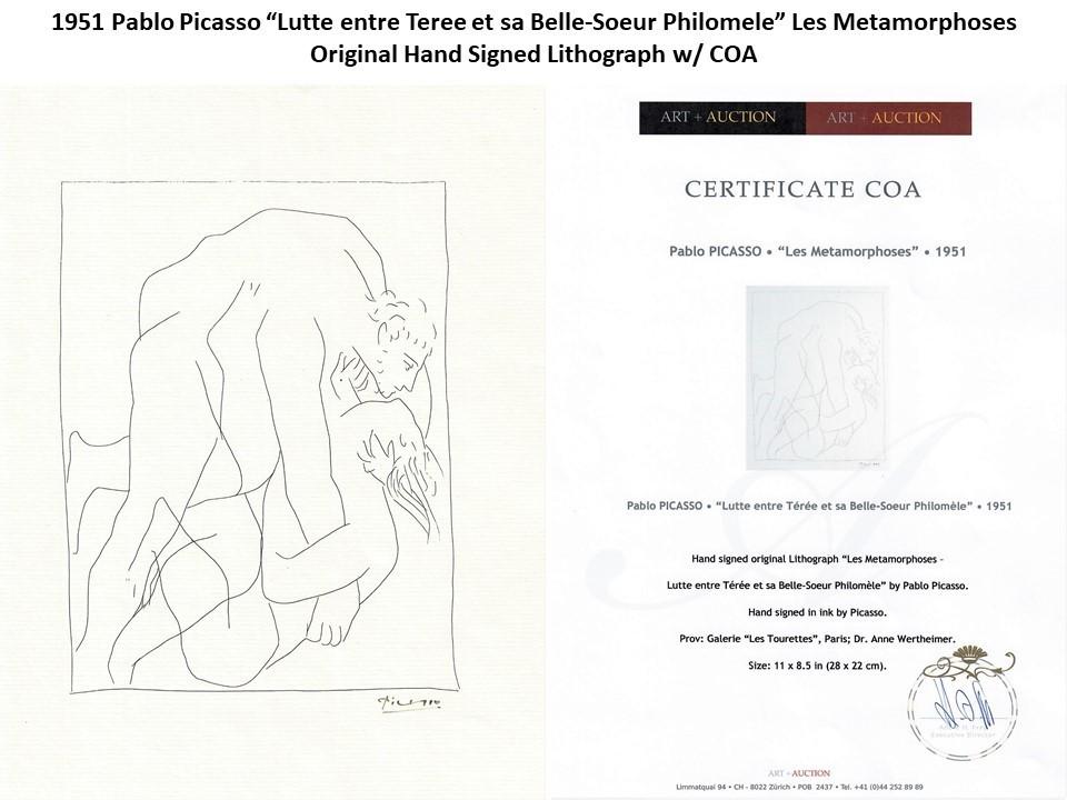 """1951 Pablo Picasso """"Lutte entre Teree et sa Belle-Soeur"""" Signed Lithograph w/COA"""