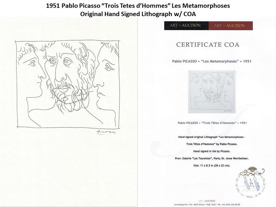 """1951 Pablo Picasso """"Trois Tetes d'Hommes"""" Original Hand Signed Lithograph w/COA"""