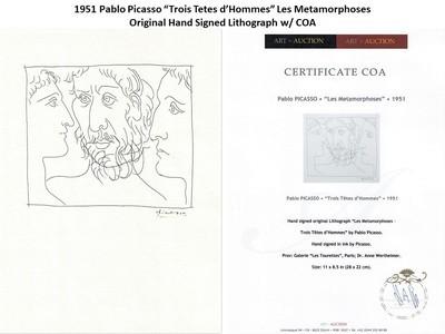 """1951 Pablo Picasso """"Trois Tetes d'Hommes"""