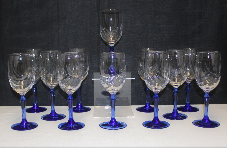 Set of 12 Lenox Cobalt Blue Stem w/ Swag Draped Clear Glass Wine Goblets