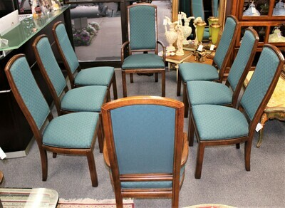 Set of 8 Henredon Walnut Wood Upholstered Dining Chairs (2 Arms & 6 Sides)