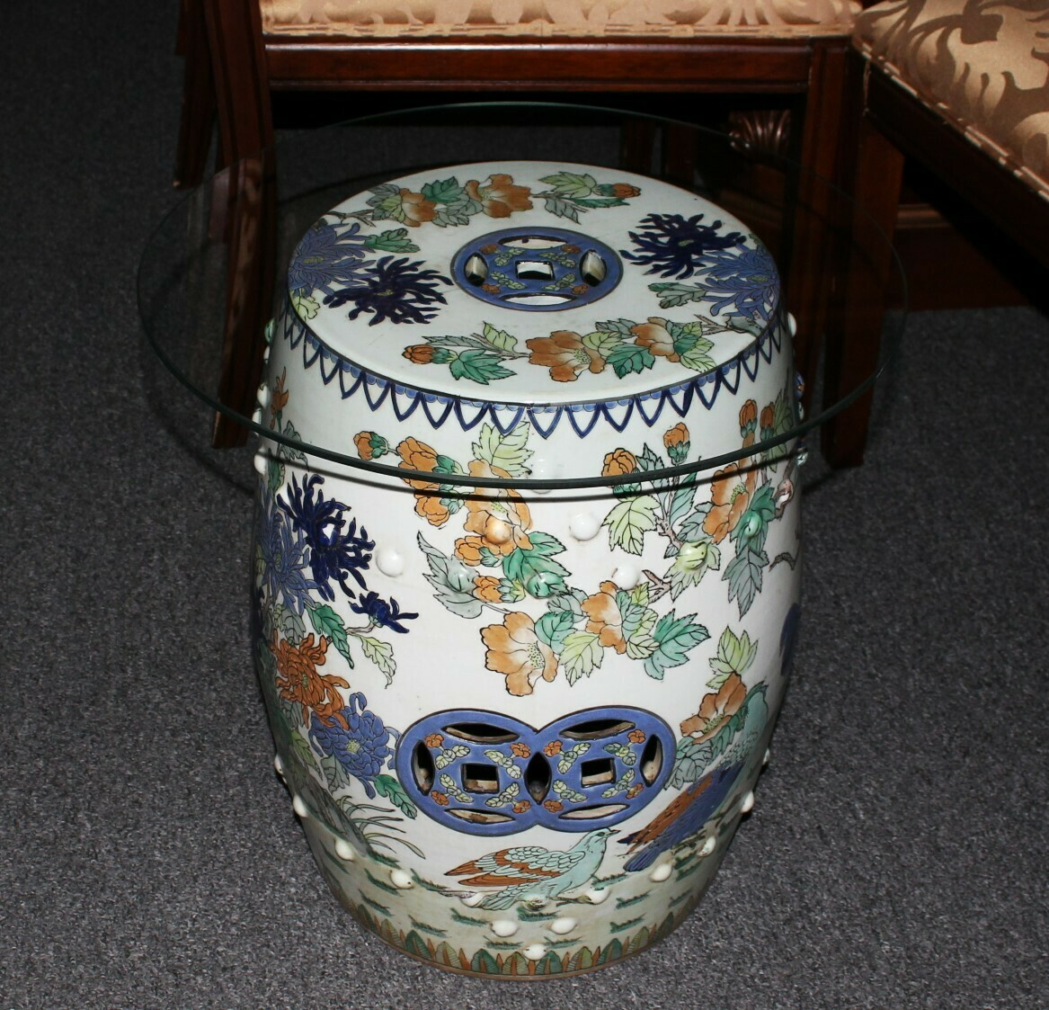 Vintage Macau Chinese Porcelain Drum Table w/ Glass Top