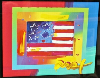 "PETER MAX ""Flag w/ Heart on Blends"" Mixed Media Art on Paper Signed, COA"