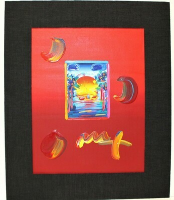 """PETER MAX """"A Better World"""" Limited Mixed Media Art on Paper Signed, COA"""