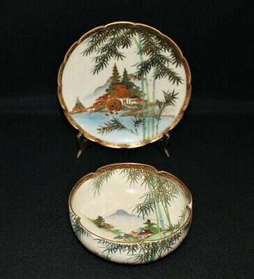 Japanese Satsuma Hand-Painted Village & Water Mill Scenery Lobed Bowl and Plate