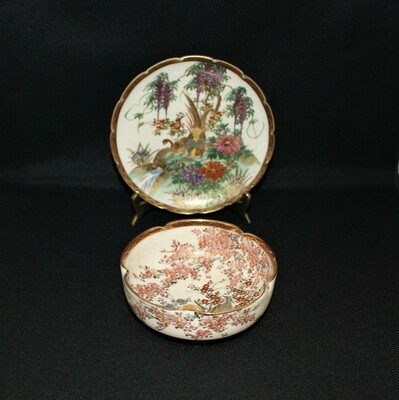 Japanese Satsuma Hand-Painted Pheasant & Floral Scene Lobed Bowl and Plate