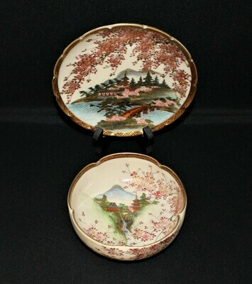 Japanese Satsuma Hand-Painted Garden Waterfall Floral Scenery Lobed Bowl & Plate