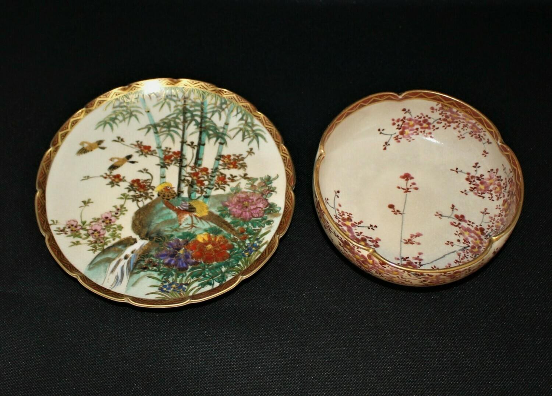 Japanese Satsuma Hand-Painted Birds & Cherry Blossom Scenery Lobed Bowl & Plate
