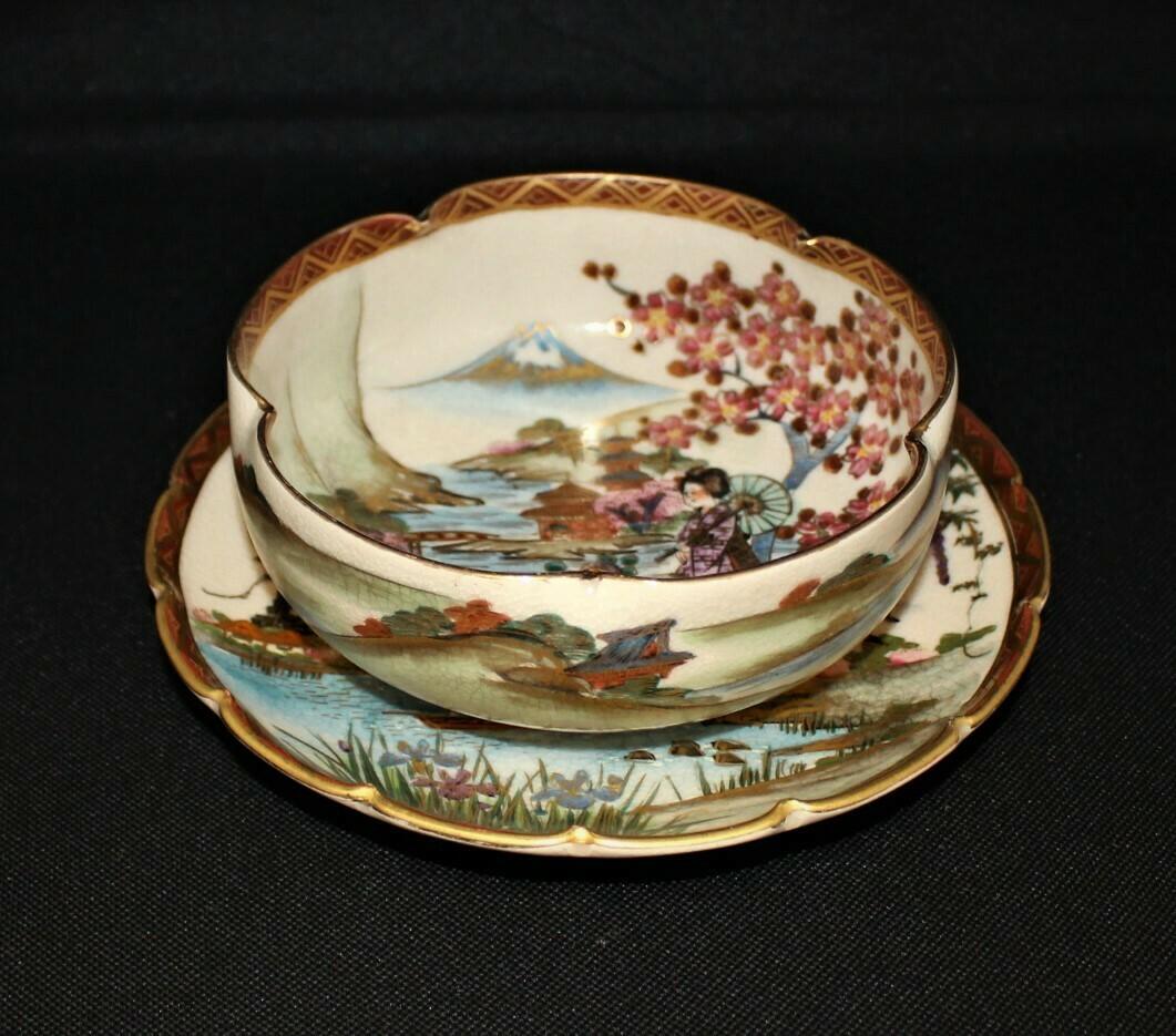 Japanese Satsuma Hand-Painted Geisha, Temple, Volcano Scene Lobed Bowl and Plate