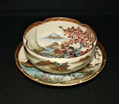 Japanese Satsuma Hand-Painted Geisha, Temple, Volcano Scene Lobed Bowl and Plate