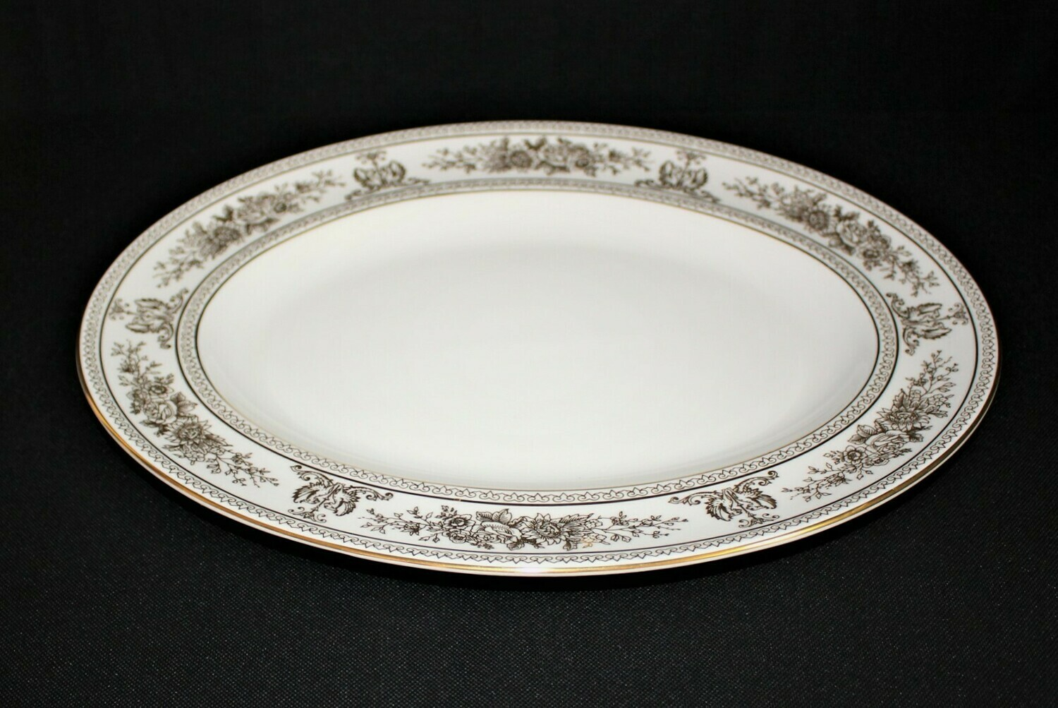 """Wedgwood Columbia 14"""" Oval Serving Platter Plate White w/Gold Bone China England"""