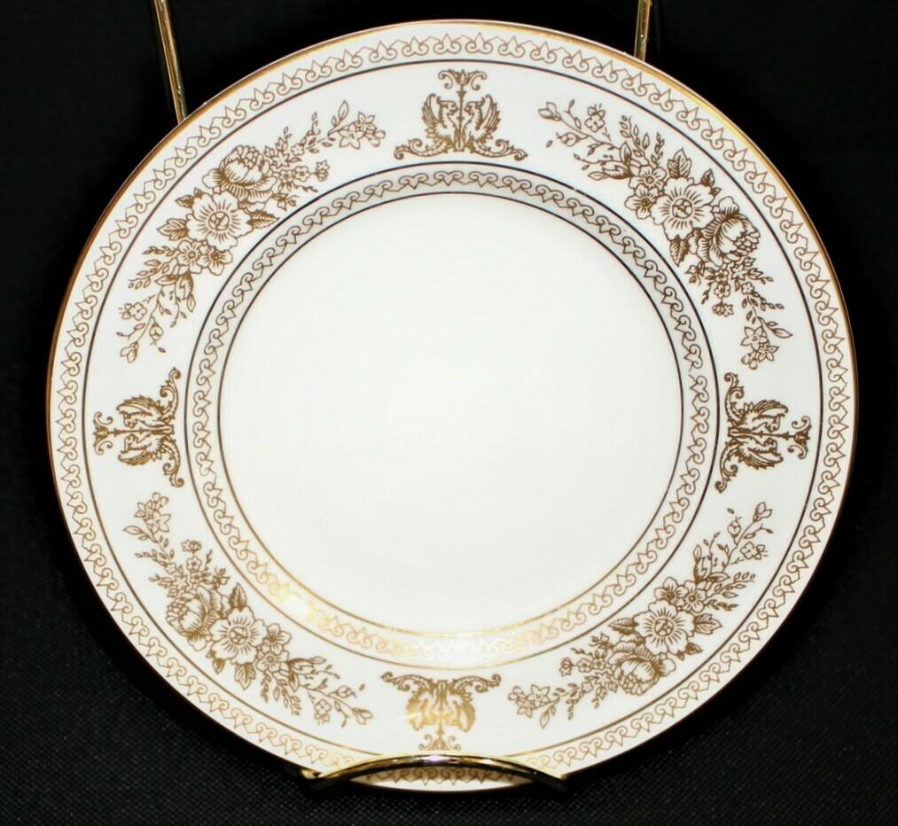 "Wedgwood Columbia 6"" Bread Plate White w/ Gold Border Bone China, England"