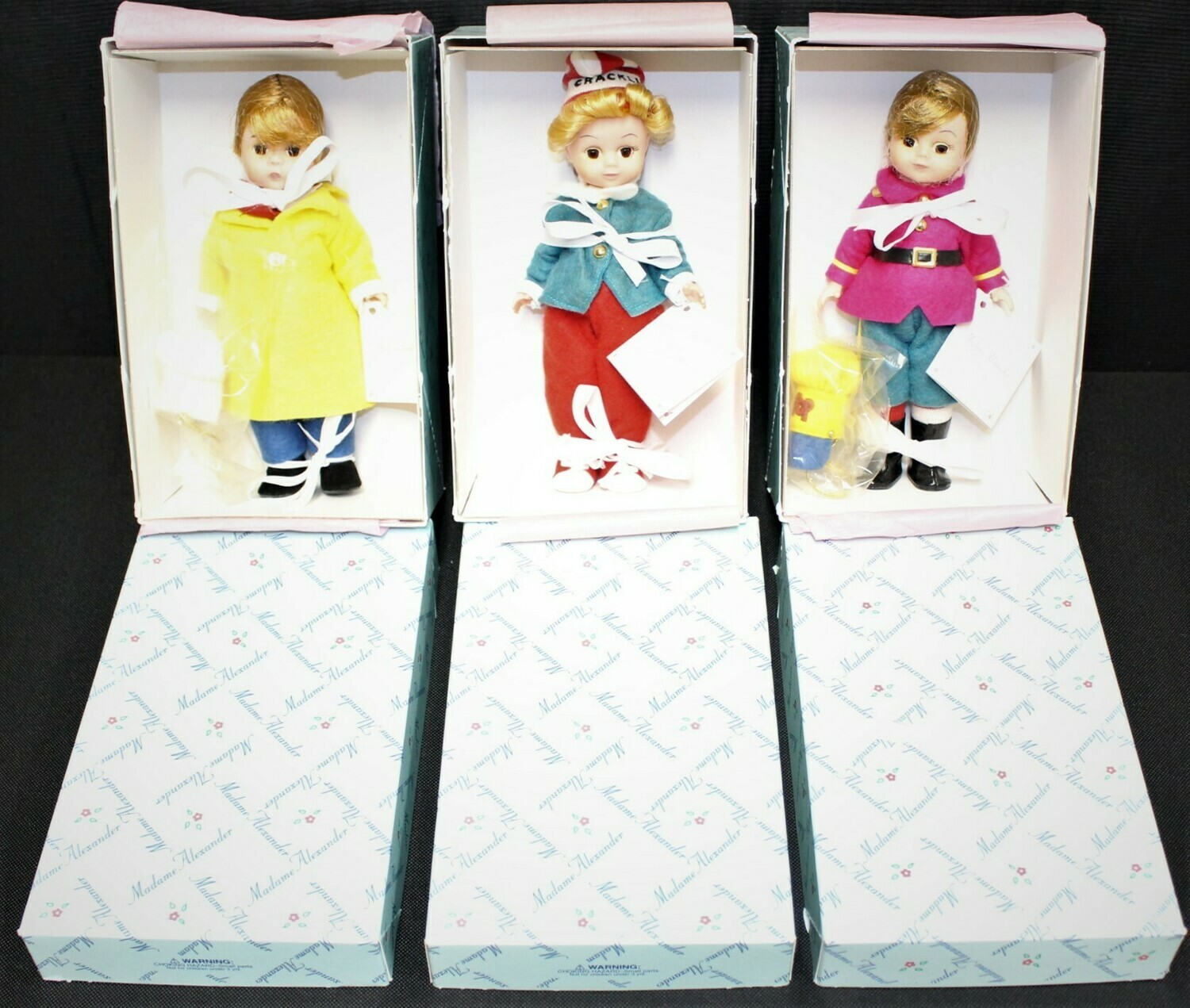 Set of 3 Madame Alexander Rice Krispies Dolls Snap, Crackle & Pop w/Tags & Boxes