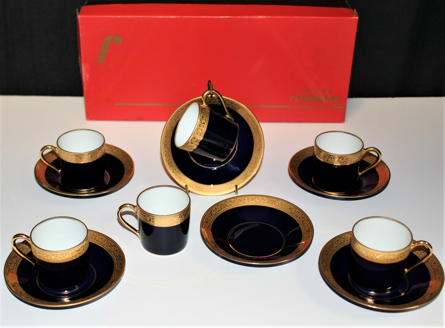 Set of 6 Limoges France Cobalt Blue/Gold Porcelain Demitasse Espresso Cups & Saucers in Original Box
