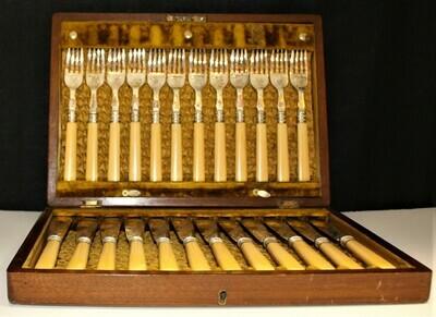 Set of 24 EPNS Cutlery Bone Handled Fish Knives & Forks in Original Oak Wood Box