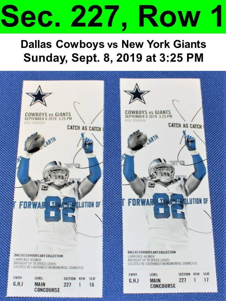 premium selection 15f35 e13b9 Two (2) Dallas Cowboys vs New York Giants Tickets Sec. 227, Row 1, GREAT  VIEW!