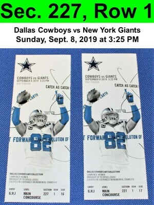 Two (2) Dallas Cowboys vs New York Giants Tickets Sec. 227, Row 1, GREAT VIEW!