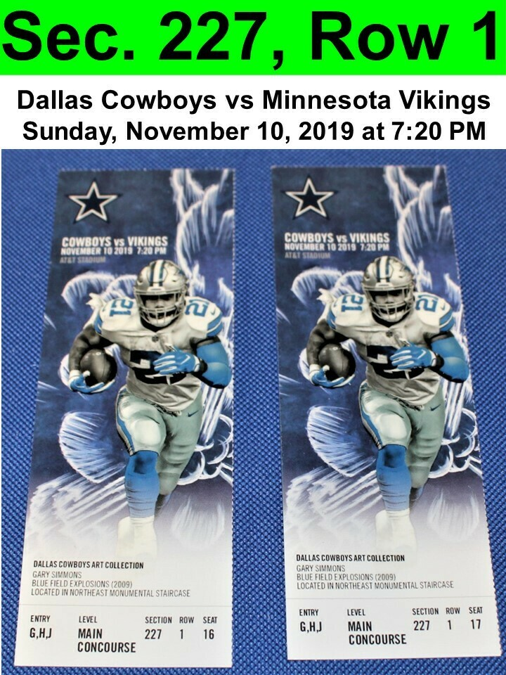 Two (2) Dallas Cowboys vs Minnesota Vikings Tickets Sec. 227, Row 1, GREAT VIEW!