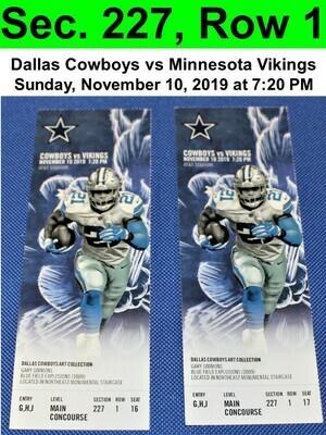 Two (2) Dallas Cowboys vs Minnesota Vikings Tickets Sec. 227, Row 1, GREAT VIEW!
