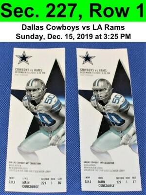 Two (2) Dallas Cowboys vs Los Angeles Rams Tickets Sec. 227, Row 1, GREAT VIEW!